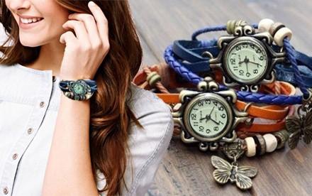 Retro hodinky  s listom alebo motýlikom rôznych farbách